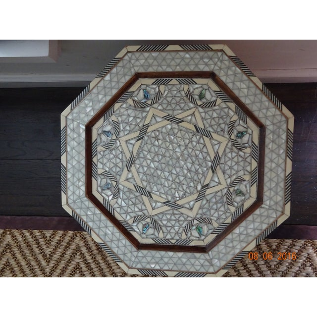 Syrian or Moroccan Mother of Pearl Inlay Side Table - Image 5 of 9