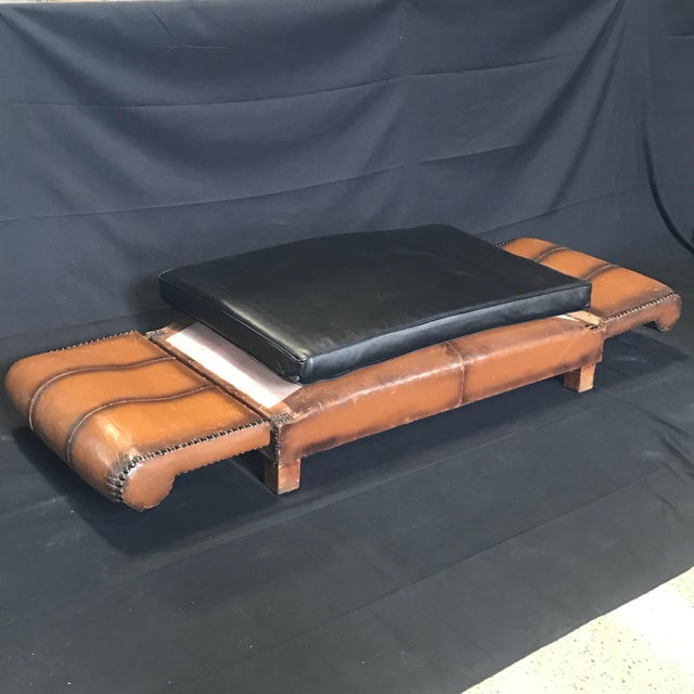 French Art Deco Leather Convertible Daybed Bench For Sale - Image 11 of 13