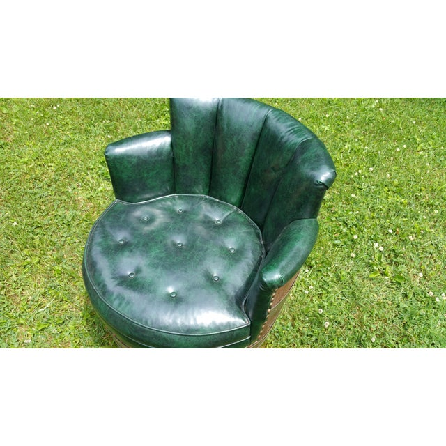 Whiskey Barrel Naugahyde Swivel Chair - Image 3 of 4