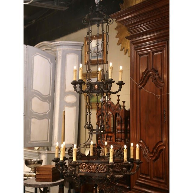 Metal 19th Century French Gothic Iron and Copper Two-Tier Fifteen Light Chandelier For Sale - Image 7 of 11