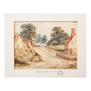 "Sir Winston S. Churchill ""English Landscape"" Vintage Watercolor Painting Signed and Sealed For Sale"