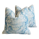 """Image of Blue & White Linen French Feather/Down Pillows 24"""" Square - Pair For Sale"""