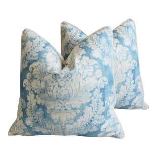 """Blue & White Linen French Feather/Down Pillows 24"""" Square - Pair For Sale"""