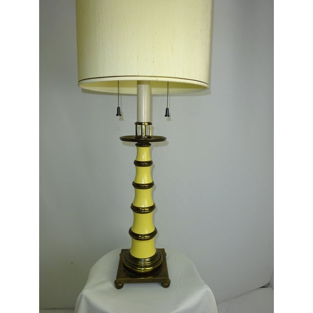 Faux Bamboo Enamel Table Lamp c1960 - Image 3 of 9