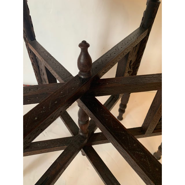 Brass Round Moroccan Tray End Table For Sale - Image 8 of 13