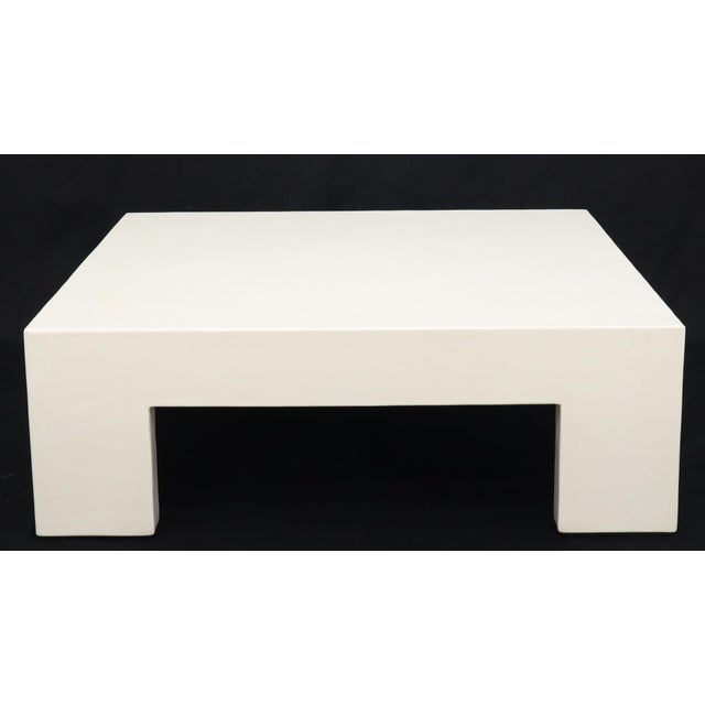 Wood Robert Kuo Large Square White Enamel Lacquer Coffee Table For Sale - Image 7 of 13