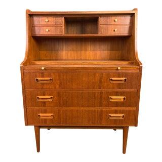 Vintage Danish Mid Century Modern Teak Secretary Desk by Gunnar Nielsen Tibergaard For Sale