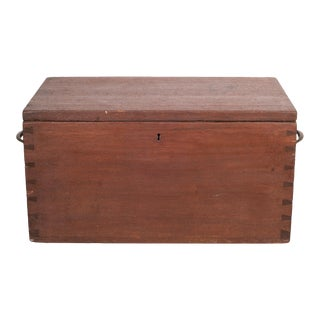 Large Handmade Wood and Brass Box C.1880-1920 For Sale