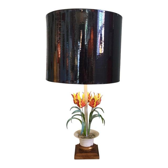 Vintage Tole Floral Lamp For Sale