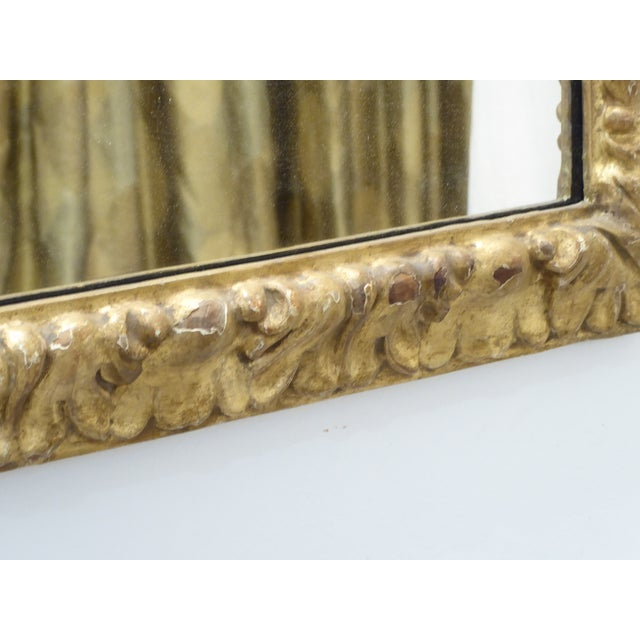 """18th Century Italian solid carved wood gilded mirror, 28""""H x 22""""W, ready to hang."""