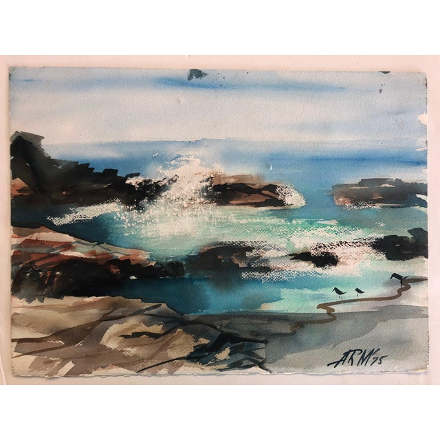 Blue Seascape Watercolor Paintings - Set of 3 For Sale - Image 8 of 8