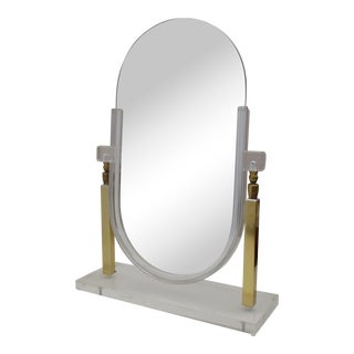 Charles Hollis Jones Style Lucite & Brass Adjustable Glam Vanity Mirror