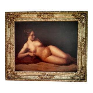Female Nude Portrait Oil Painting by Lawrence Campbell, Late 20th Century, Framed For Sale