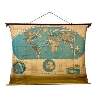 Vintage 1950s Denoyer-Geppert World Map For Sale