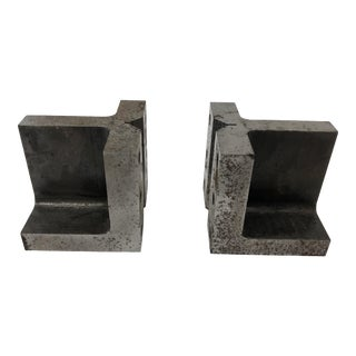 Vintage Industrial Steel Bookends - a Pair For Sale
