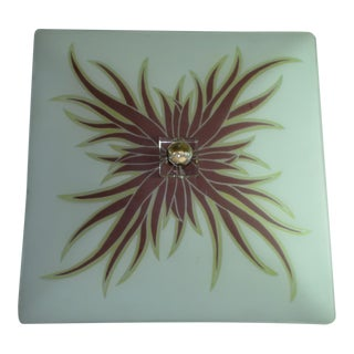Mid Century Modern Art Deco Square Glass Ceiling Light Shade Flush Mount For Sale