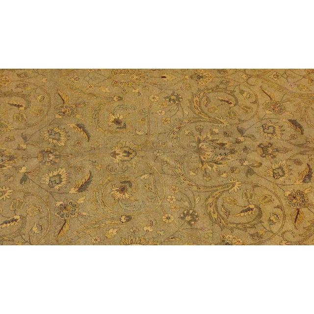 Very fine wool pile hand woven vegetable dye Palace Agra carpet in excellent condition. Colors include light green with...