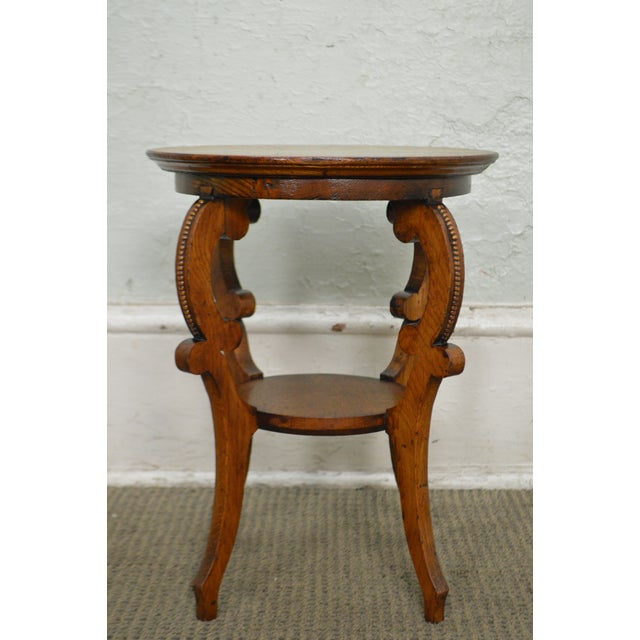 Antique Victorian Solid Oak 2 Tier Taboret Side Table - Image 3 of 10