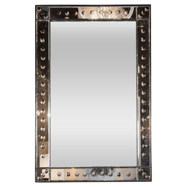 French Midcentury Mirror With a Raised Beveled Border With Circular Inlays For Sale In New York - Image 6 of 6