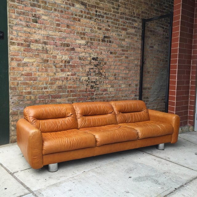 Vintage 1970s Leather and Chrome Sofa - Image 2 of 9