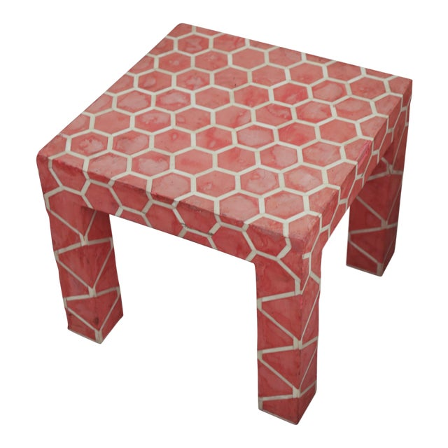 Antique Pink Clay Bone Inlay Honeycomb Side Table For Sale