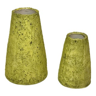 Contemporary Green Cone Vases -Set of 2 For Sale