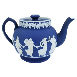 Antique English Jasperware Single Cup Teapot For Sale