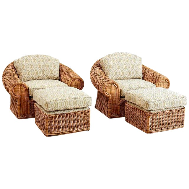 Michael Taylor Style Wicker Lounge Chairs and Ottomans For Sale