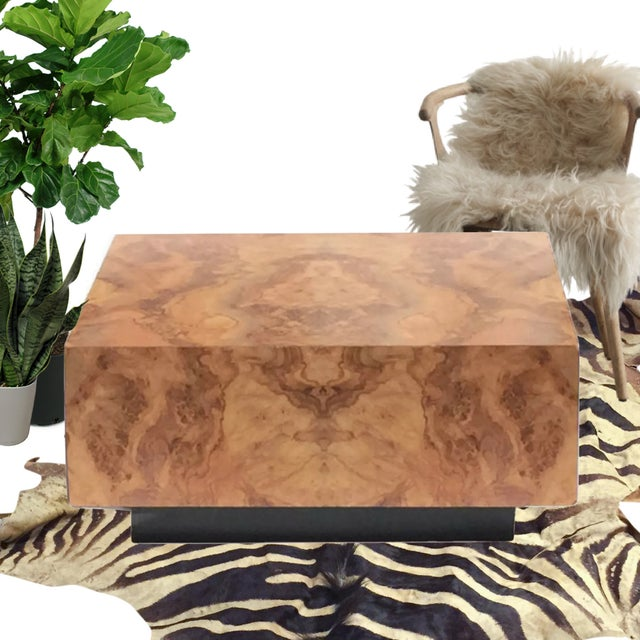 "Vintage Burl Wood Coffee Table Floating Cube Pedestal Cocktail Table - 36"" For Sale - Image 12 of 13"
