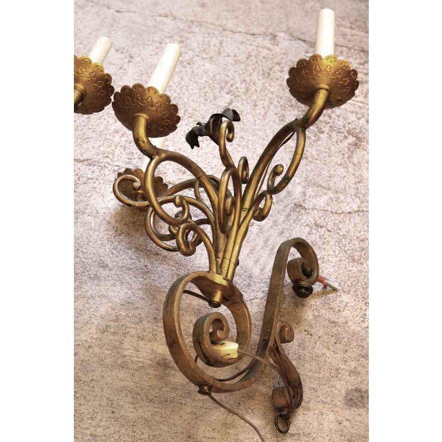 Golden Bronze Three Light Sconces - a Pair For Sale - Image 6 of 7