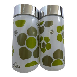 Modern Glass Salt & Pepper Shakers- A Pair For Sale