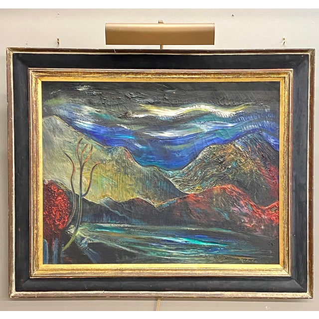 Large Vintage Oil on Canvas Signed Charles Melohs Nighttime Scene Painting Framed For Sale - Image 10 of 10