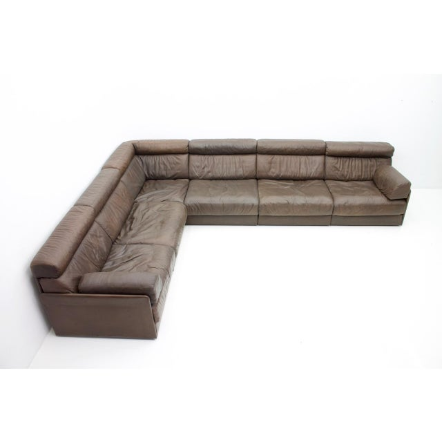 Large Modular Leather Sofa in Dark Brown Leather by De Sede, Switzerland, 1970s For Sale - Image 11 of 11