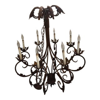 Wrought Iron 8 Candelabra Chandelier For Sale