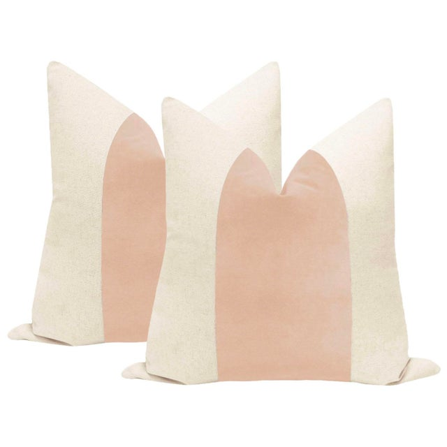 "22"" Pale Pink Velvet Panel & Linen Pillows - a Pair - Image 6 of 6"