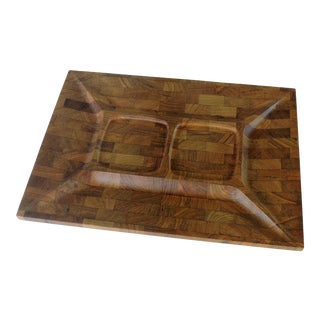 1960s Mid Century Modern Danish Staved Teak Tray Digsmed For Sale