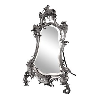 Antique 1890s French Art Nouveau Silver Plate Mirror Cherub Face and Dolphin on Frame For Sale