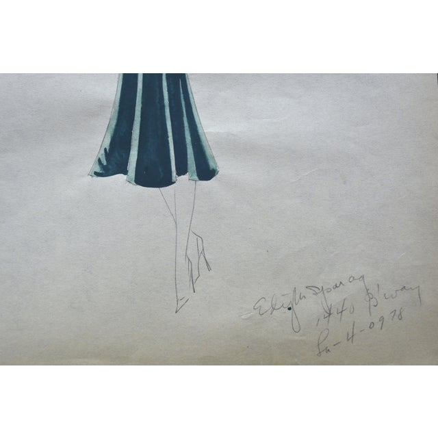 Edith Sparag 1930s Blue Dress Fashion Sketch For Sale - Image 5 of 5