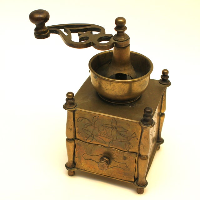 19th Century European Solid Brass Coffee Mill - Image 3 of 8