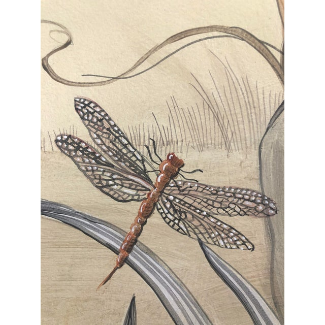 """Tan Chinoiserie Style Bird Painting, """"Without Feather Ado"""" For Sale - Image 8 of 10"""