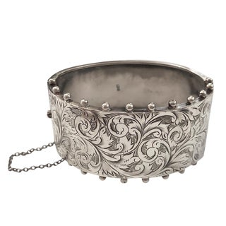 Victorian Sterling Silver Birmingham Wide Cuff Bracelet For Sale