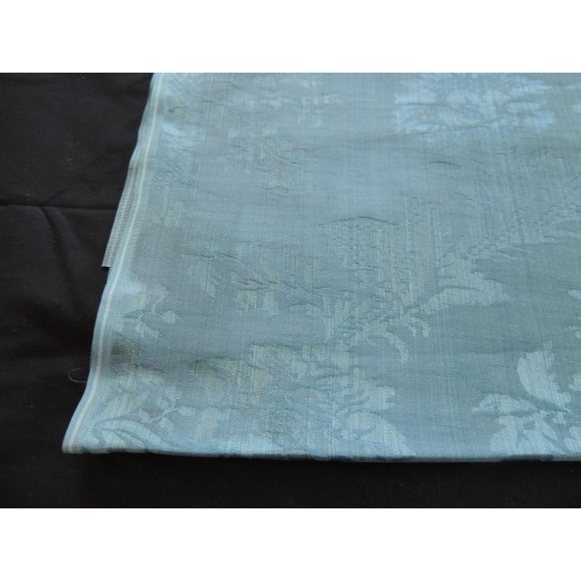 """Antique blue floral silk damask textile panel Ideal for upholstery or pillows. (large repeat) Size: 21"""" W x 172"""" L (almost..."""