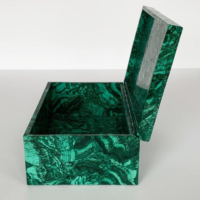 Late 20th Century Large Modern Malachite Stone Jewelry Box For Sale - Image 5 of 13