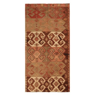 Vintage Emirdag Red and Brown Wool Kilim Rug With White and Green Accents For Sale