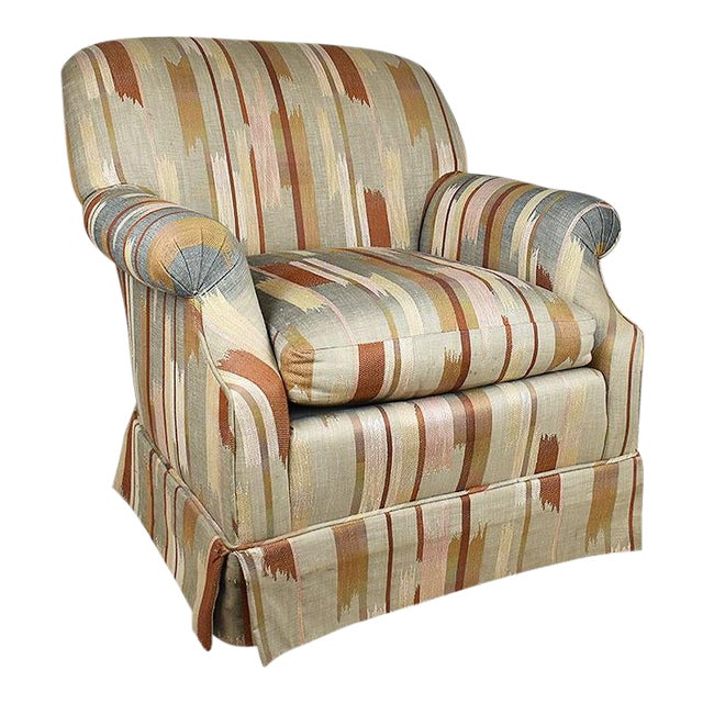 Rolling Upholstered Southwest Ikat Armchair in Brown Cream and Blue by Baker Furniture Company For Sale