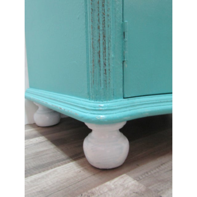 Boho Chic Vintage Coastal Cabinet With Crab Pulls For Sale - Image 3 of 7
