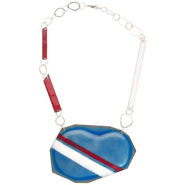 Early 21st Century Michel McNabb for Basha Gold Blue Bean Sugar Coat Stripe Enamel Silver Necklace For Sale - Image 5 of 5
