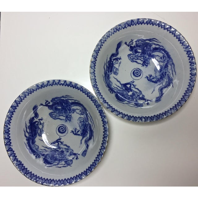 Vintage Chinese Transferware Dragon Bowls - A Pair - Image 6 of 7