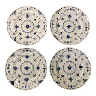 "Delft Blue + White ""Furnivals"" Pattern Dessert Plates - Set of 4 For Sale"