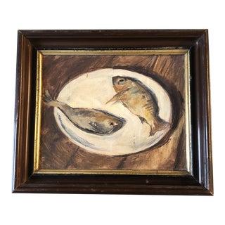 Vintage Original Modernist Still Life Painting Fish on Plate Antique Frame For Sale
